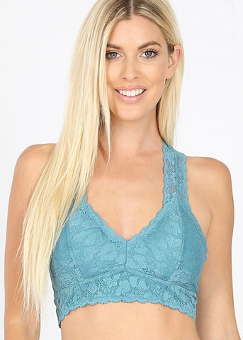 Dusty Teal Racerback Lace Bralette - SM-3XL
