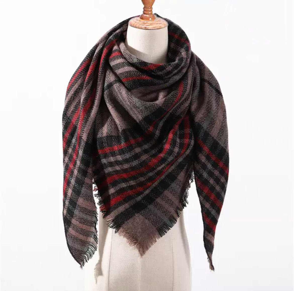 Mocha Red Black Green Plaid Triangle Blanket Scarf