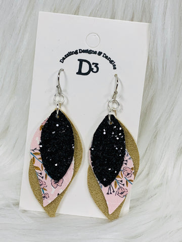 Black Sparkle Pink Floral Layered Dangle Earrings