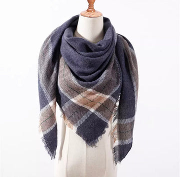 Blue Tan White Plaid Triangle Blanket Scarf