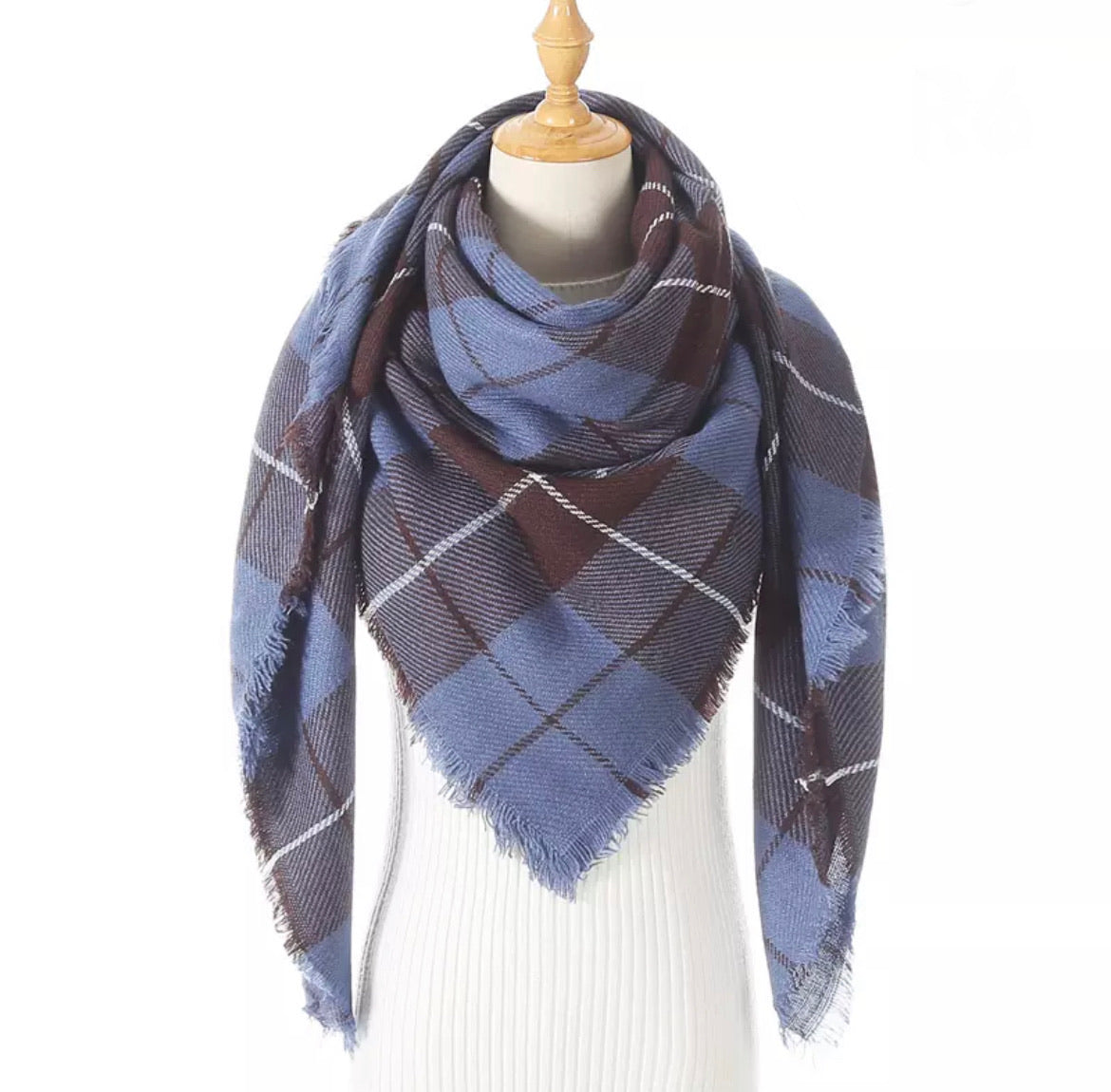 Blue Brown Plaid Triangle Blanket Scarf