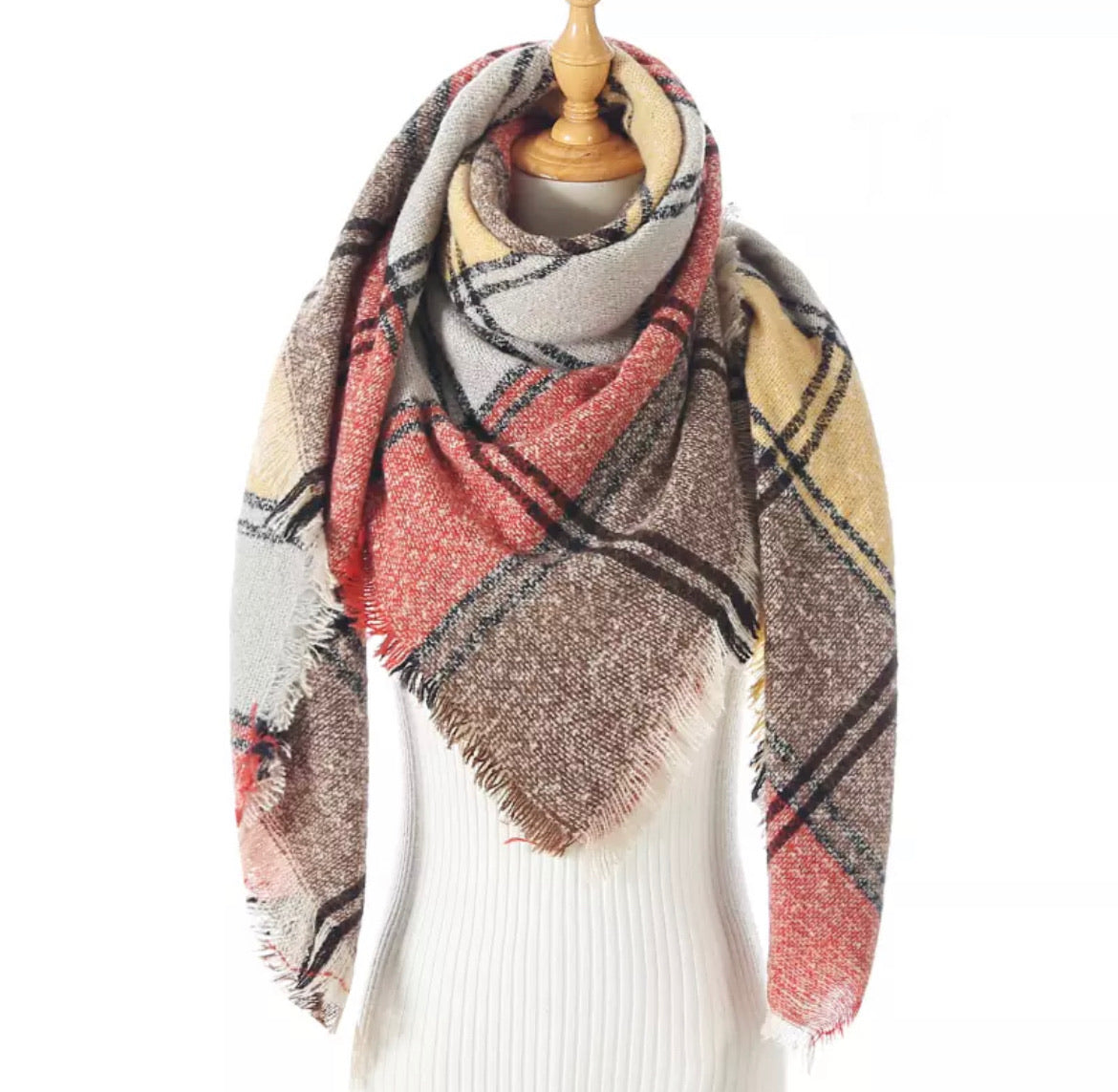 Orange Yellow Brown Gray Plaid Triangle Blanket Scarf