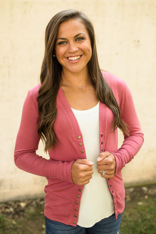 Rose Pink Snap Front Cardigan