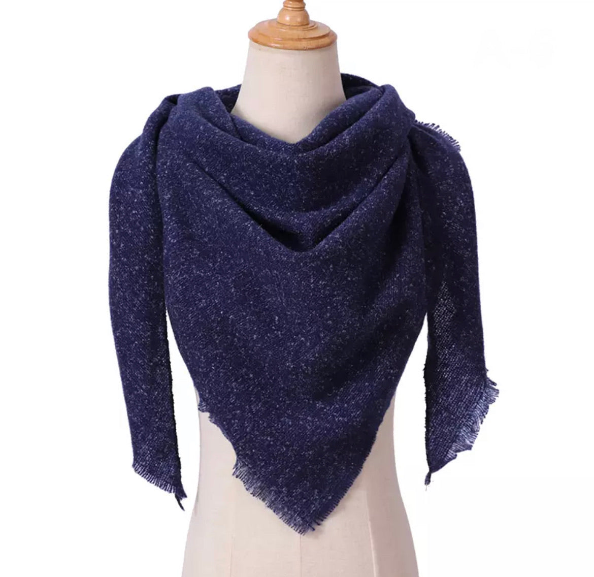 Heathered Navy Triangle Blanket Scarf