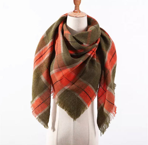 Olive Orange Plaid Triangle Blanket Scarf