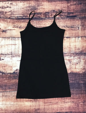 Black Basic Cotton Long Adjustable Spaghetti Strap Cami Tank