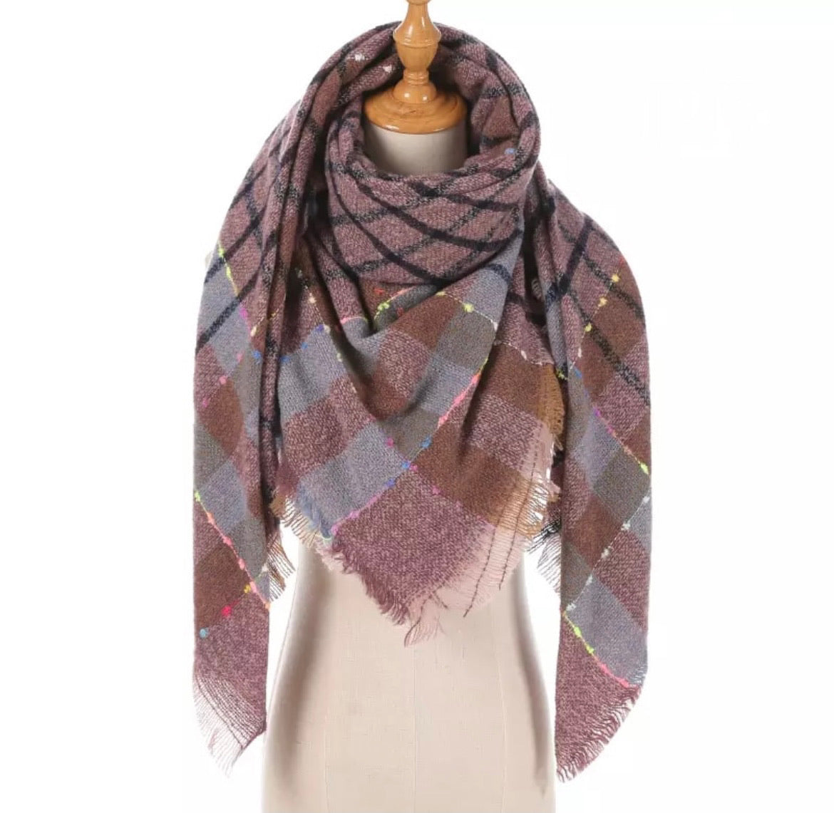 Lavender Blue Taupe Neon Stitch Plaid Triangle Blanket Scarf