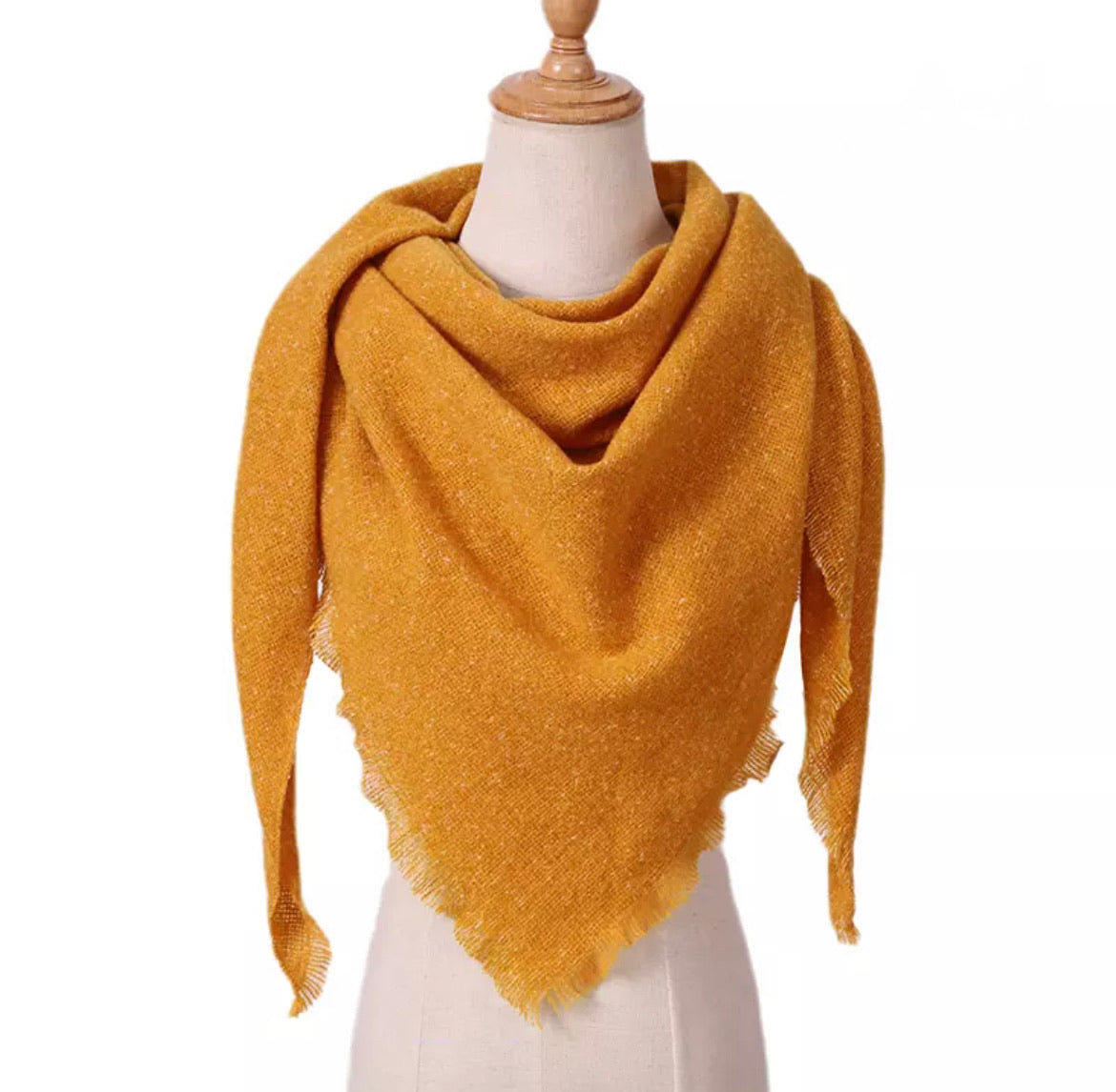 Heathered Mustard Triangle Blanket Scarf