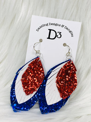 Patriotic Red White Blue Glitter Layered Dangle Earrings