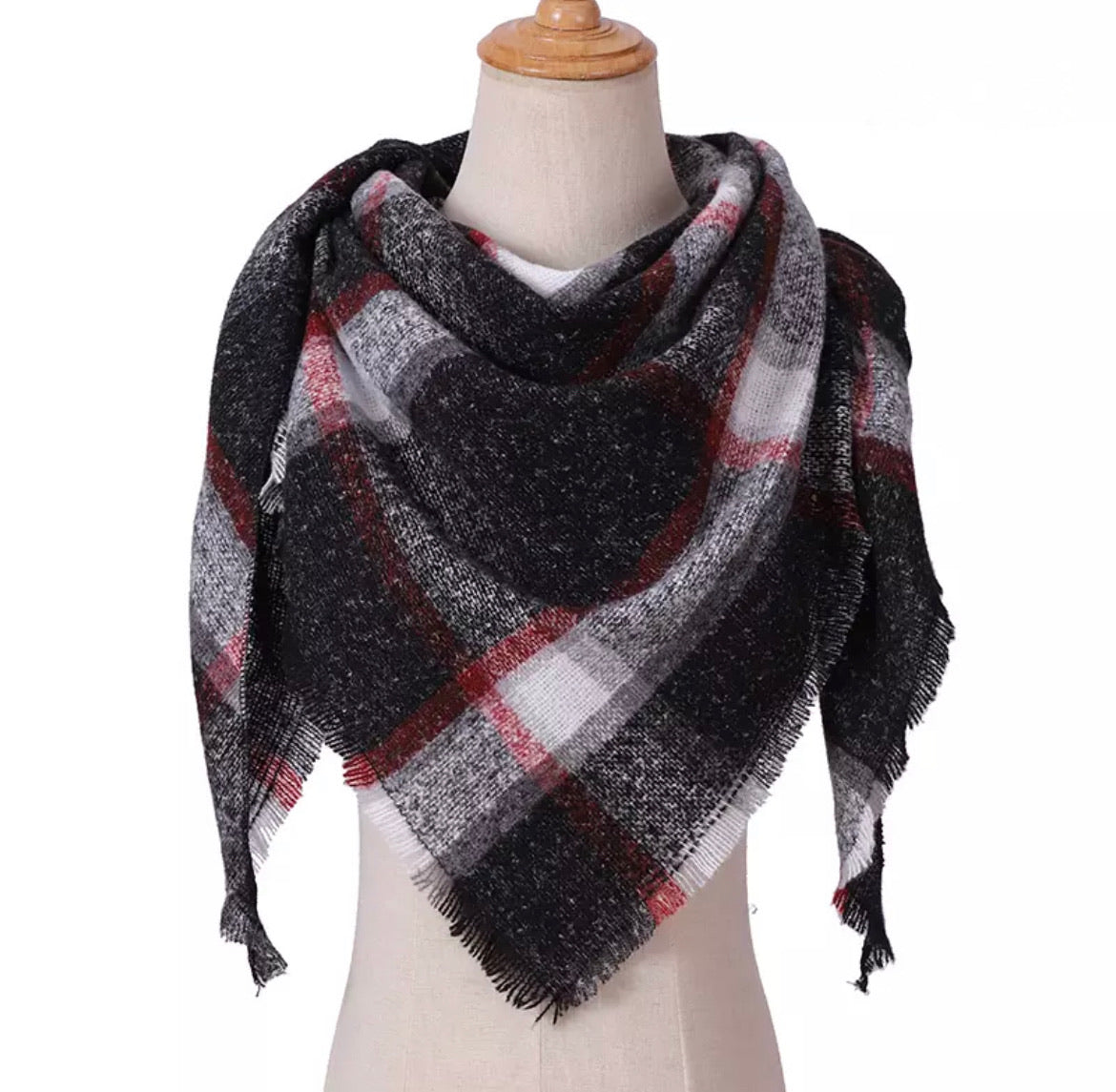 Black Burgundy White Gray Plaid Triangle Blanket Scarf