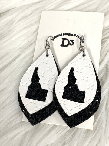 Idaho White Black Glitter Layered Dangle Earrings