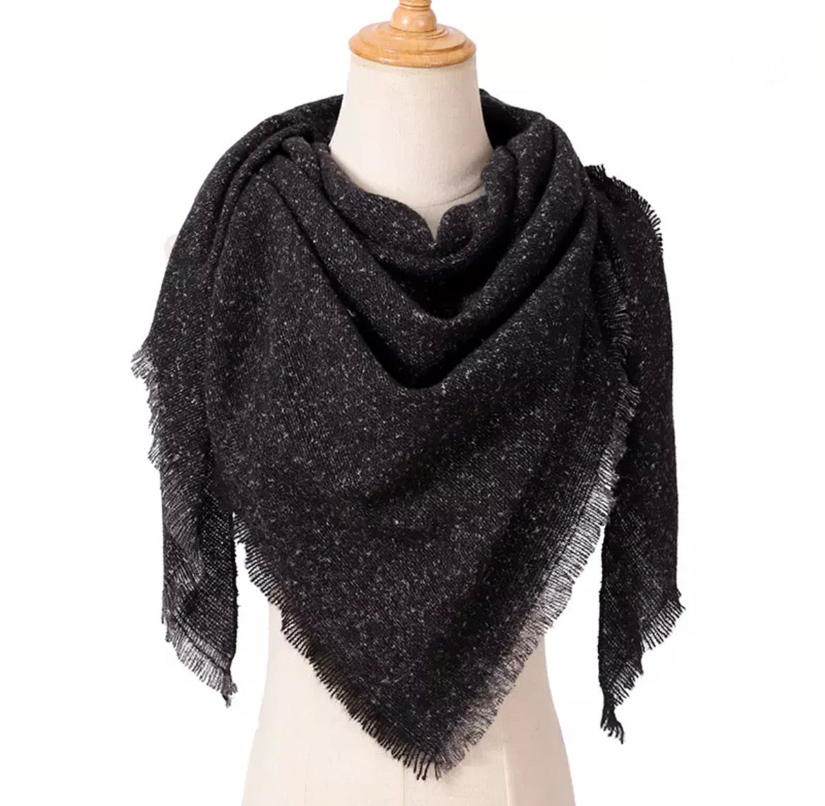 Heathered Black Triangle Blanket Scarf