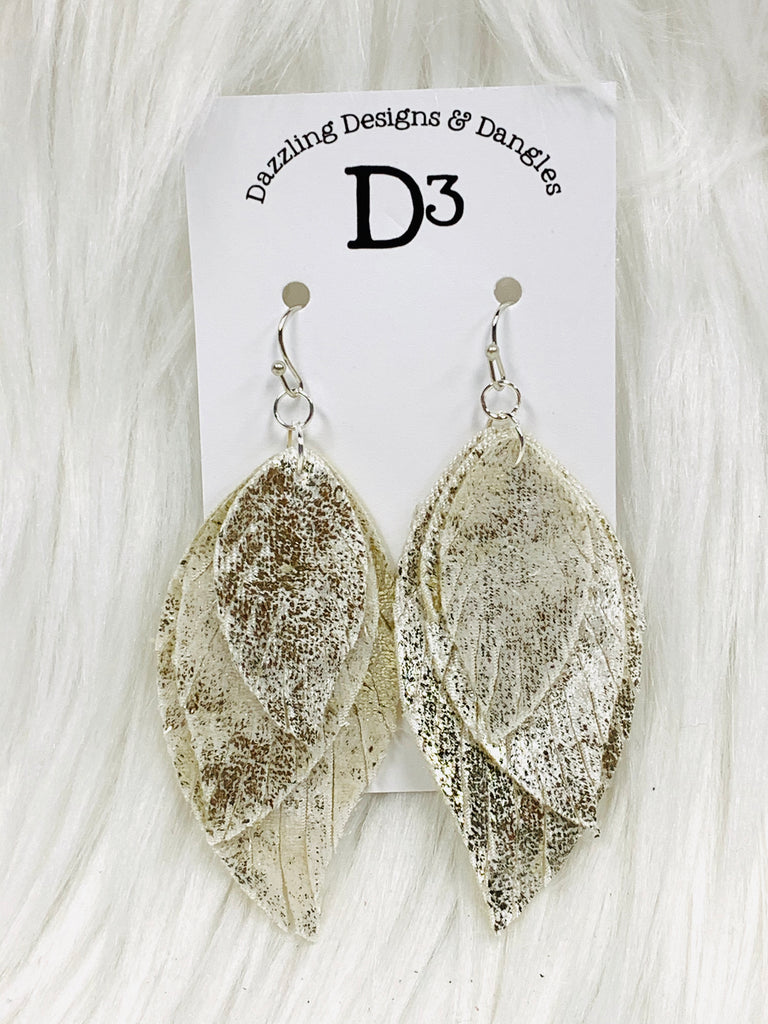 White Gold Feather Shimmer Velvet Layered Dangle Earrings