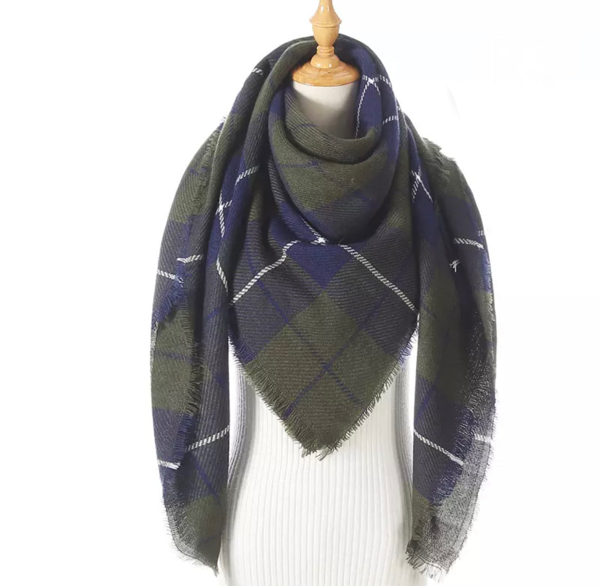 Olive Navy Plaid Triangle Blanket Scarf
