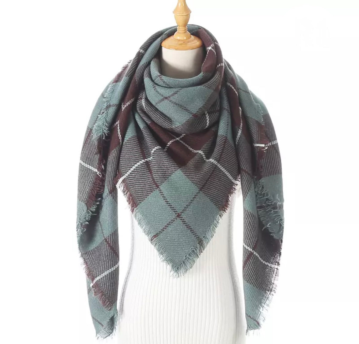 Teal Brown Plaid Triangle Blanket Scarf