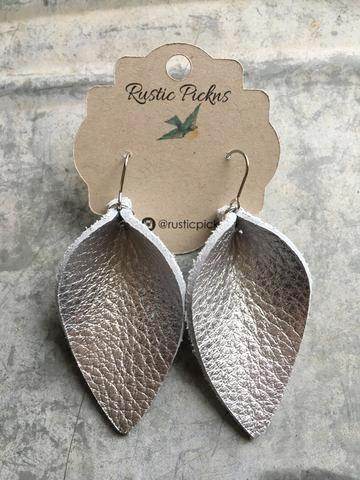 Metallic Silver Leather Petal Earrings