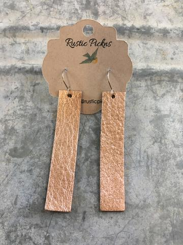 Rose Gold Bar Leather Earrings