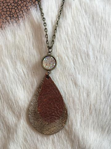 Bronze on Brown Sugar Leather Teardrop Necklace