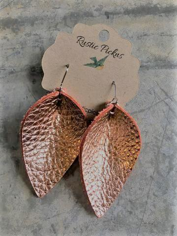 Metallic Rose Gold Leather Petal Earrings