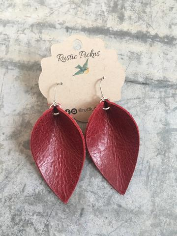 Worn Red Leather Petal Earrings