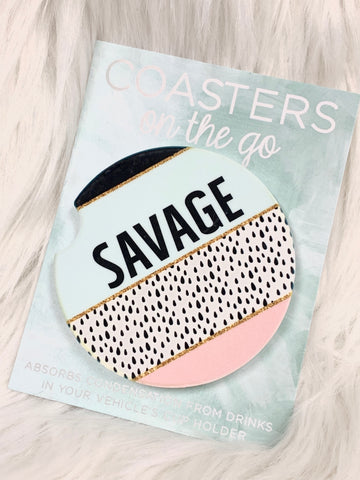 Savage Car Coasters On The Go