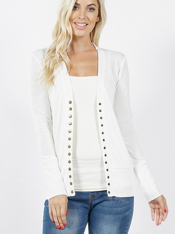 Ivory Snap Front Cardigan