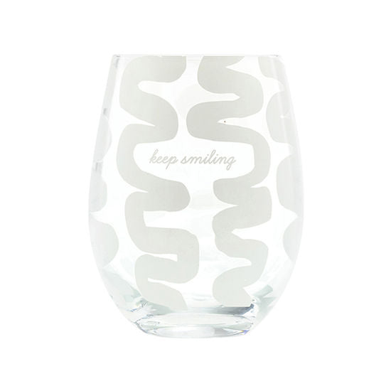 Keep Smiling Wine Glass