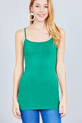 Kelly Green Basic Cotton Long Adjustable Spaghetti Strap Cami Tank