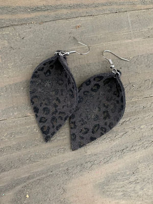 Gray Mini Suede Leopard Leather Earrings