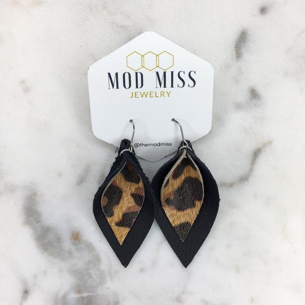 leopard black stacked leather petal earrings