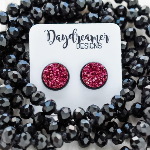 Magenta Glitter Druzy Stud Earrings