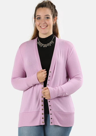 Lilac Snap Front Cardigan