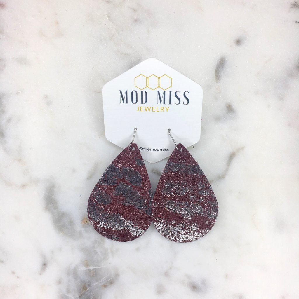 Maroon & Silver Splash Leather Teardrop Earrings