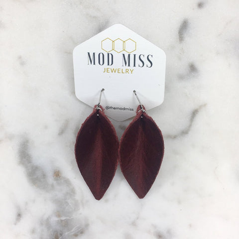 Merlot Leather Petal Earrings