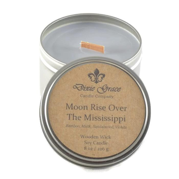Moon Rise Over The Mississippi  Candle