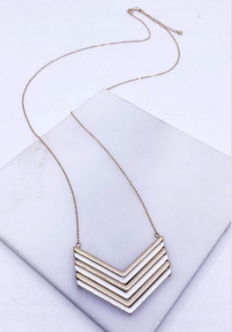 Worn Gold Silver Chevron Necklace