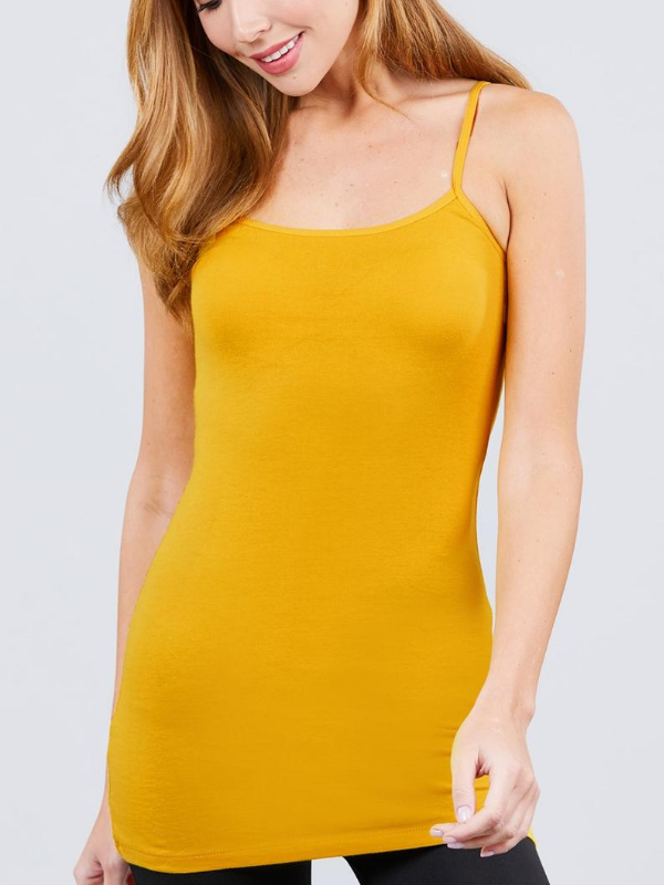 Mustard Basic Cotton Long Adjustable Spaghetti Strap Cami Tank