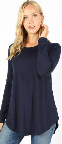 Navy Blue Long Sleeve Perfect Tee (SM-3X)