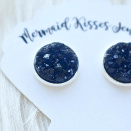 Navy Quartz Druzy Stud Earrings