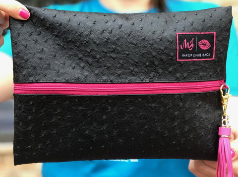 Onyx w/Pink Zipper Makeup Junkie Bag - Large