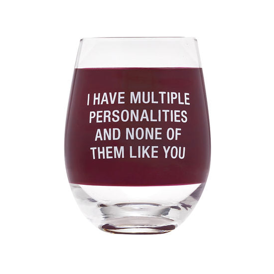 Multiple Personalities Wine Glass