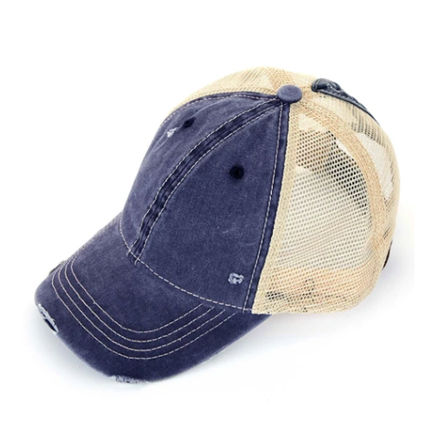 Distressed Navy CC Messy Bun Ponytail Hat