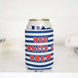 red white brew can koozie