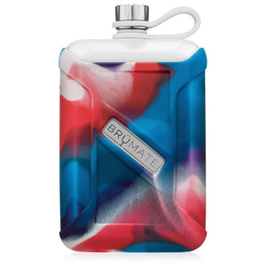 BruMate Liquor Canteen Flask- Red White Blue Swirl