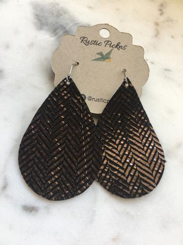 Rose Gold & Black Tribal Leather Teardrop Earrings