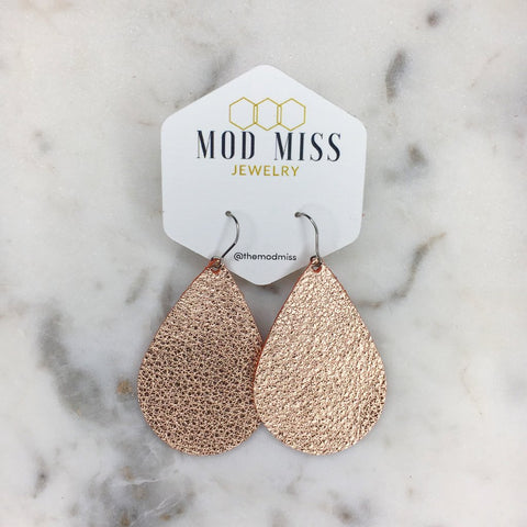 Metallic Rose Gold Leather Teardrop Earrings