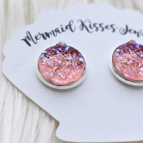 Rose Pink Druzy Stud Earrings