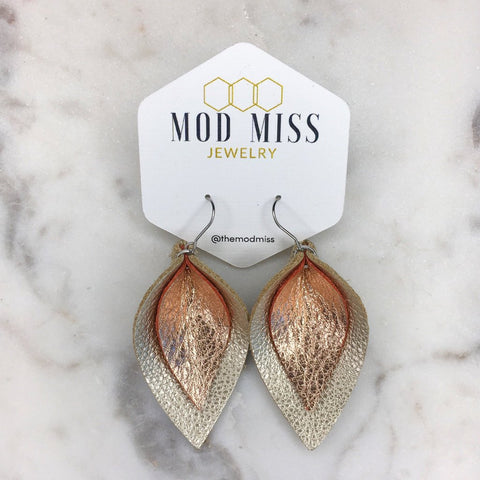 Rose Gold & Metallic Pearl Stacked Leather Petal Earrings