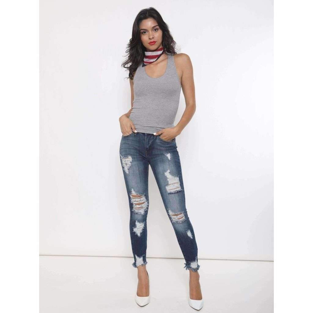 KanCan Paisley Destroyed Ankle Skinny Jeans