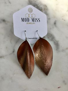 Shiny Rose Gold Leather Petal Earrings